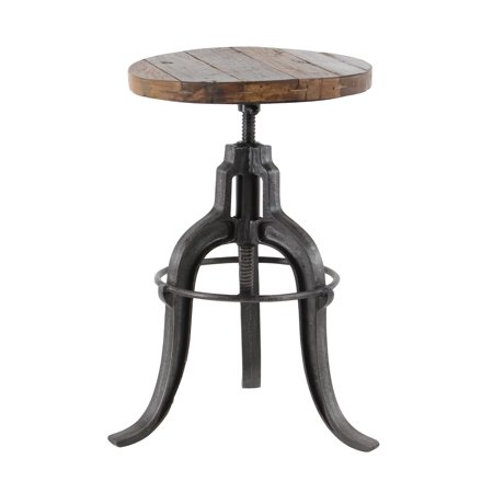 Decmode Rustic 29 X 17 Inch Round Brown Iron And Teak Wood