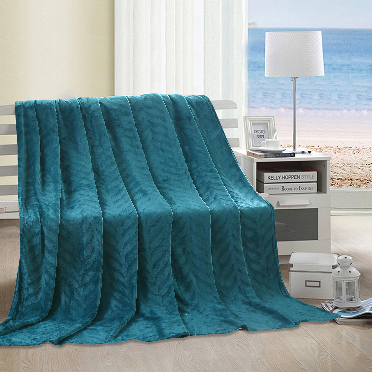 Micro Fleece Leaf Etched Jacquard Throw Blanket 50x60 (Teal)