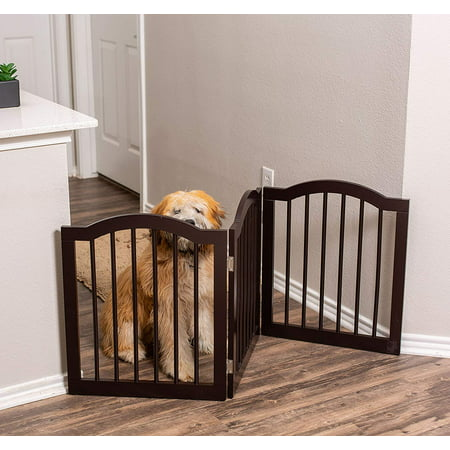 Internet's Best Pet Gate with Arched Top | 3 Panel | 24 Inch Step Over Fence | Free Standing Folding Z Shape Indoor Doorway Hall Stairs Dog Puppy Gate | Fully Assembled | Espresso | Wooden