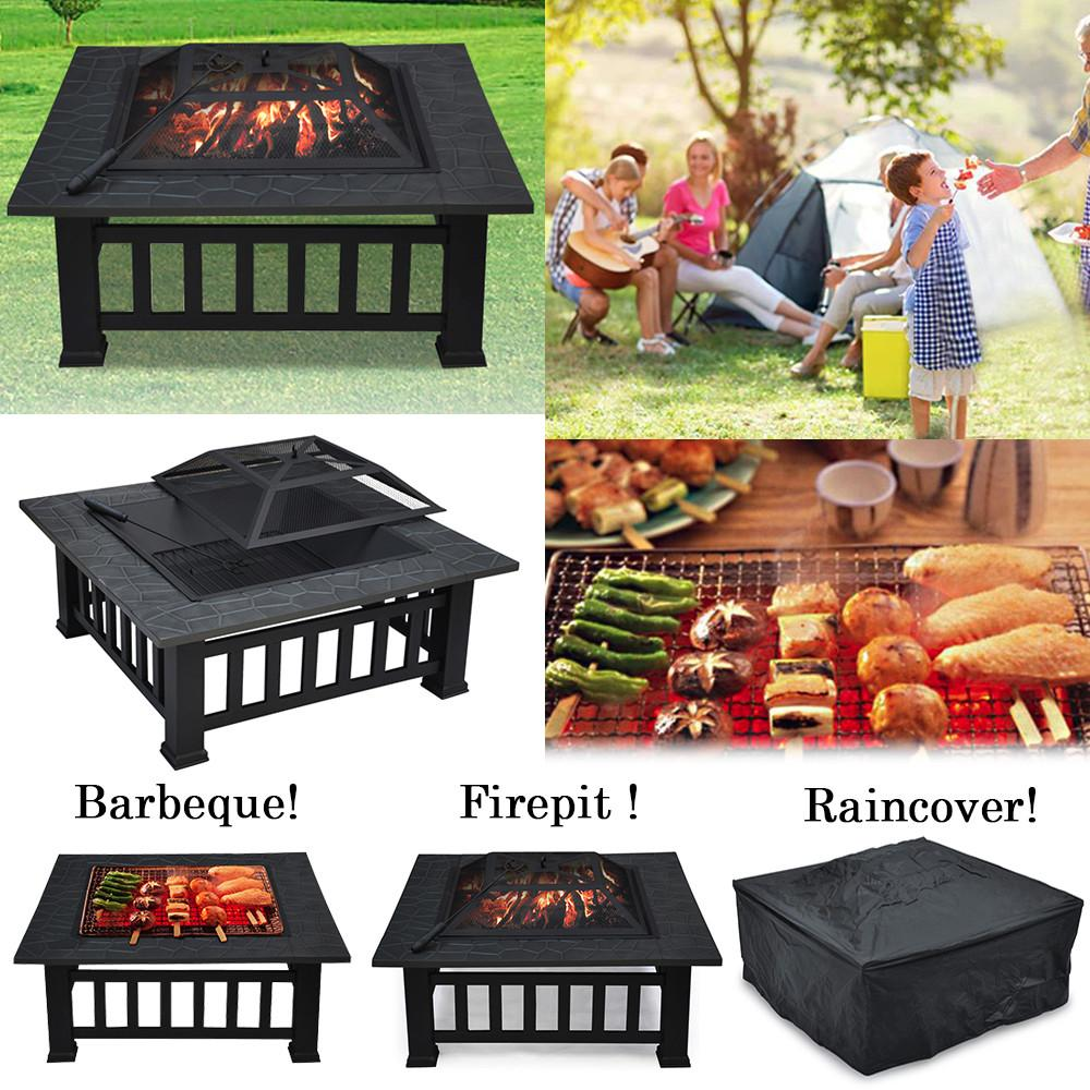 Yaheetech Outdoor 32  Outdoor Metal Firepit Backyard Patio Garden Square Stove Fire Pit With Protect Cover