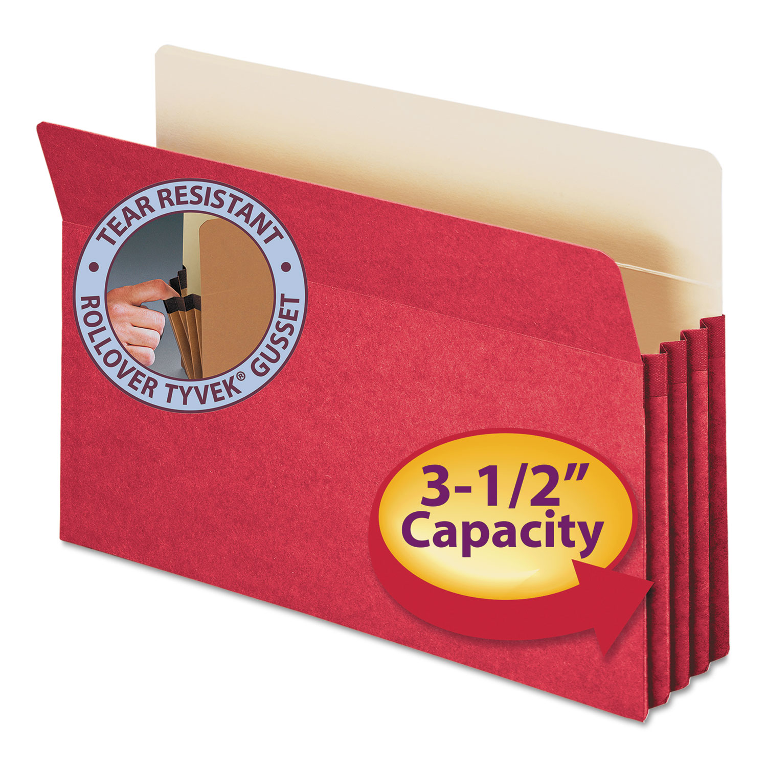 "3 1/2"" Exp Colored File Pocket, Straight Tab, Legal, Red"