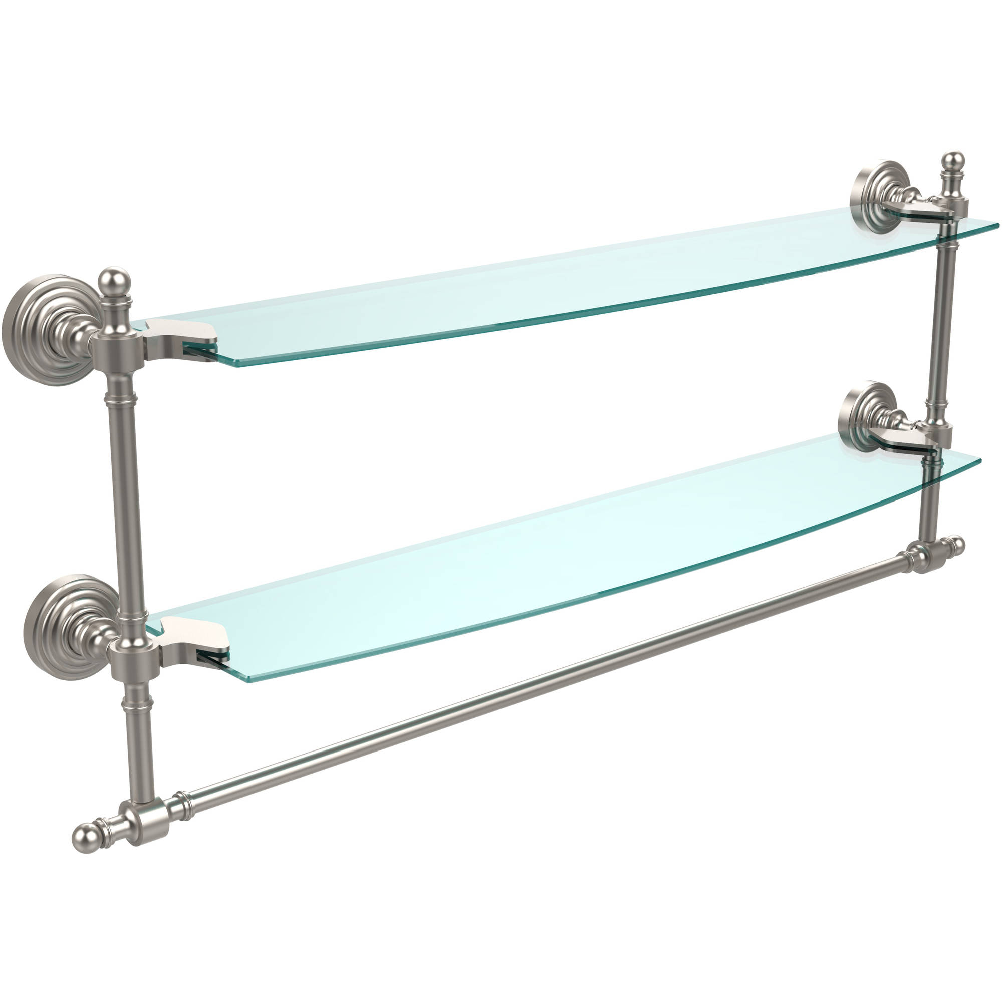 "Retro Wave Collection 24"" 2-Tiered Glass Shelf with Integrated Towel Bar (Build to Order)"