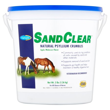 Farnam SandClear Natural Psyllium Crumbles Apple/Molasses Horse Feed Supplement, 3 lbs. (Horse Health Apple)