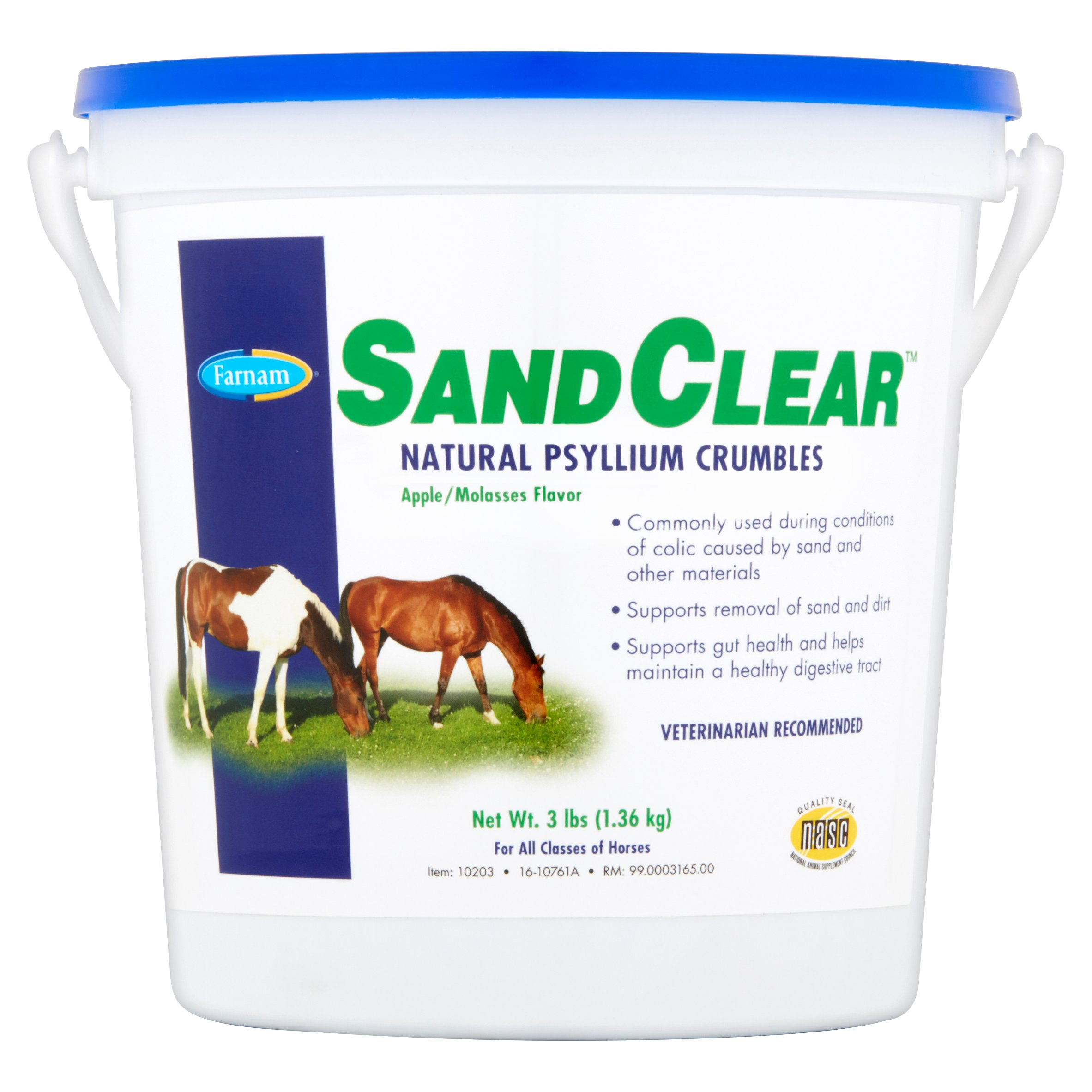 Farnam SandClear Natural Psyllium Crumbles Apple/Molasses Horse Feed Supplement, 3 lbs.