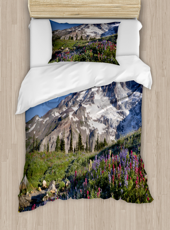 Wildflower Duvet Cover Set, Nature Themed Landscape Mt. Rainier with Snow at Springtime Photo ...