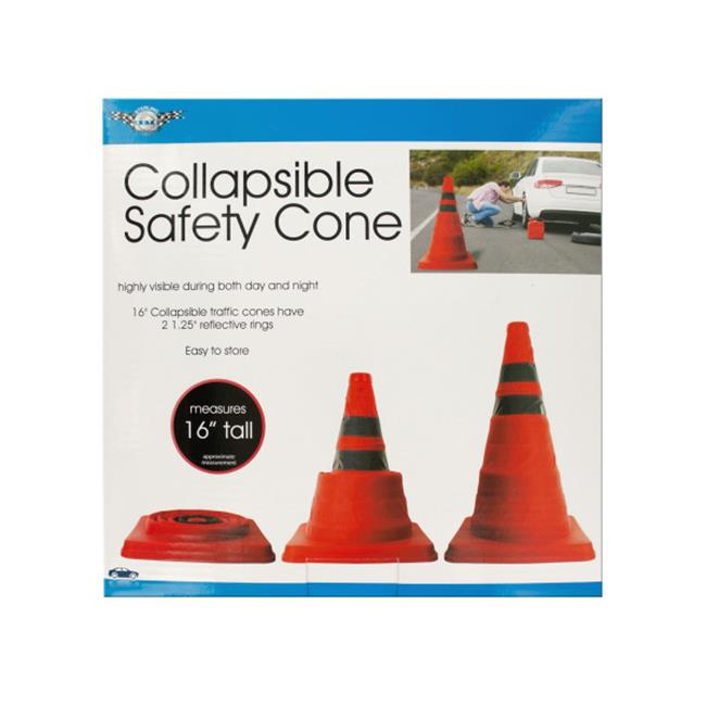Bulk Buys OL391-4 Collapsible Traffic Safety Cone with Reflective Rings, 4 Piece