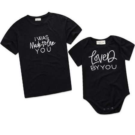 Letter Print Funny Father Son Mother Daughter T-Shirt and Baby Toddler Romper Set