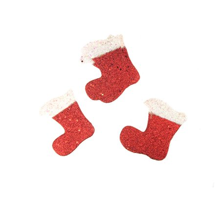 Christmas Styrofoam Stocking Cut Out Red Glitter, 3-1/2-Inch, 12 Count
