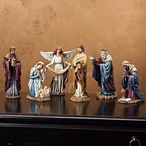 "Nativity Set-6 Piece Blues/Purples (8"")"