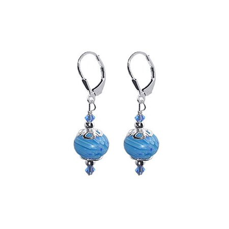 Czech Glass Bead Earrings (Gem Avenue 925 Sterling Silver Leverback Glass Beads Drop Earrings )