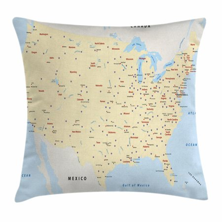 Map Throw Pillow Cushion Cover, United States Interstate Map America Cities Travel Destinations Road Route, Decorative Square Accent Pillow Case, 18 X 18 Inches, Yellow Red Pale Blue, by