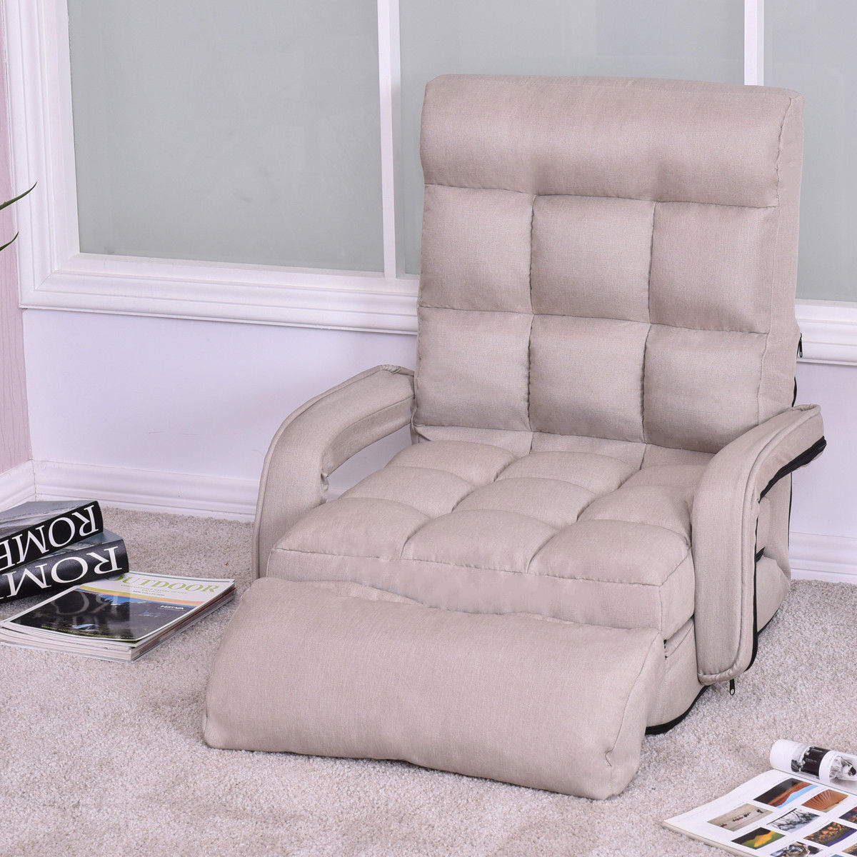 Costway Folding Lazy Sofa Lounger Bed Floor Chair Sofa With Armrests And  Pillow,Beige ,