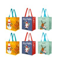 Reusable Grocery Bags Gift Totes with Xmas Christmas Holiday Designs (Pack of 6)