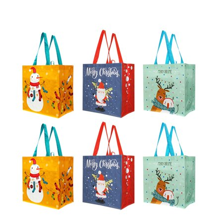 Reusable Grocery Bags Gift Totes with Xmas Christmas Holiday Designs (Pack of 6) ()