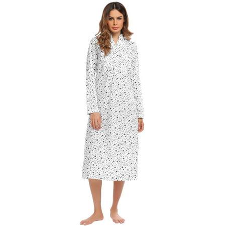 Big Sale! V-Neck Long Sleeve Pleated Sleep Wear Long Nightgowns ...