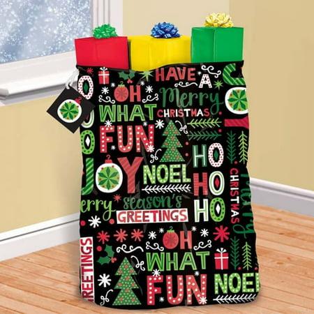 Joyful Holiday Giant Christmas Gift Bag, Tag, Tie 36 x 44 Plastic Sack for $<!---->