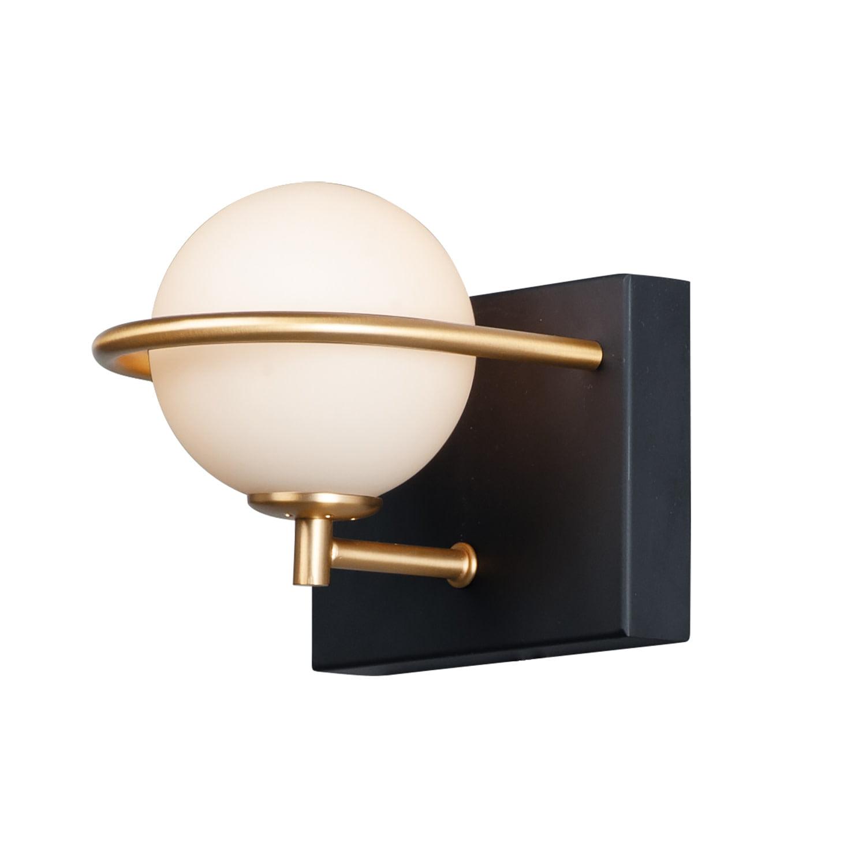 Image of: Maxim 21601 Revolve 6 Tall Led Bathroom Sconce Black Gold Satin White Glass Walmart Com Walmart Com