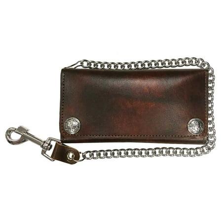 - Biker Men's Buffalo Nickel Snap Antique Genuine Leather Chain Wallet, Made in US