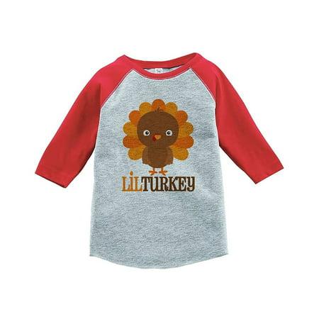 Custom Party Shop Baby Boy's Little Turkey Thanksgiving Red Raglan - Medium (10-12) T-shirt - Buy Custom