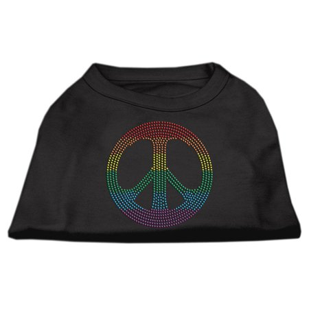 Rhinestone Rainbow Peace Sign Shirts Black XL 16