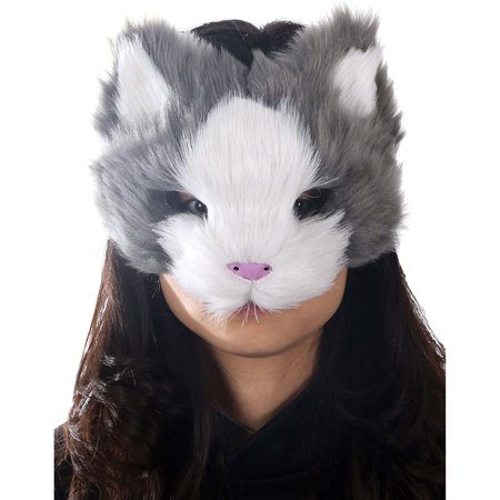 Morris Costumes Adult Furry Face Kitty Masquerade Mask Gray One Size, Style MR039055 - Furry Masks