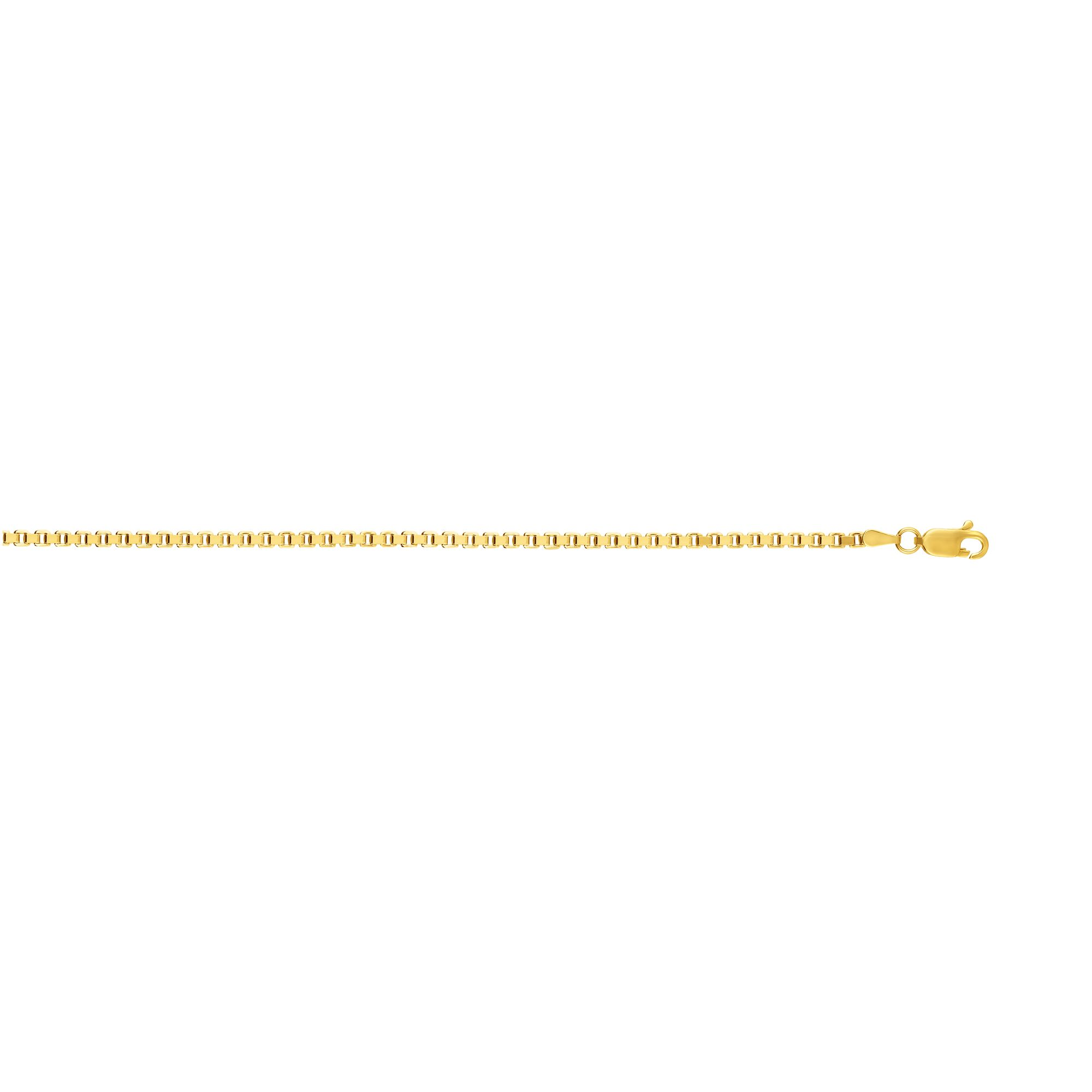 """14k Yellow Gold 2.5mm Classsic Square Box Chain Necklace 20"""" 22"""" 24"""" by JewelStop"""