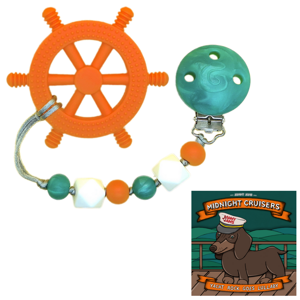 """GumBaby 'Yacht Rocker' Teething Toy w/ Beaded Pacifier Clip + Jammy Jams """"Midnight Cruisers: Yacht Rock Goes Lullaby"""" CD"""