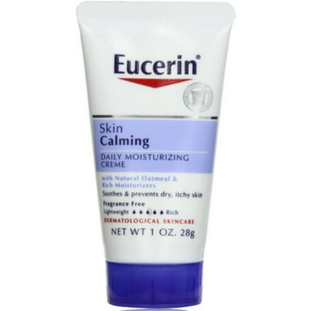 Eucerin Calming Creme Daily Moisturizer, Dry Skin Therapy 1 oz (Pack of 4)