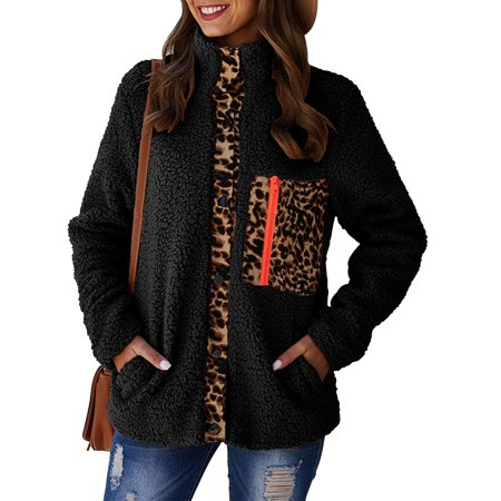 Women's Hoodies Zipper Leopard Print Plush Coat Patchwork Sweatshirt Coat Winter Sherpa Outerwear Pockets New 2019 Quilt Sweatshirt Jacket