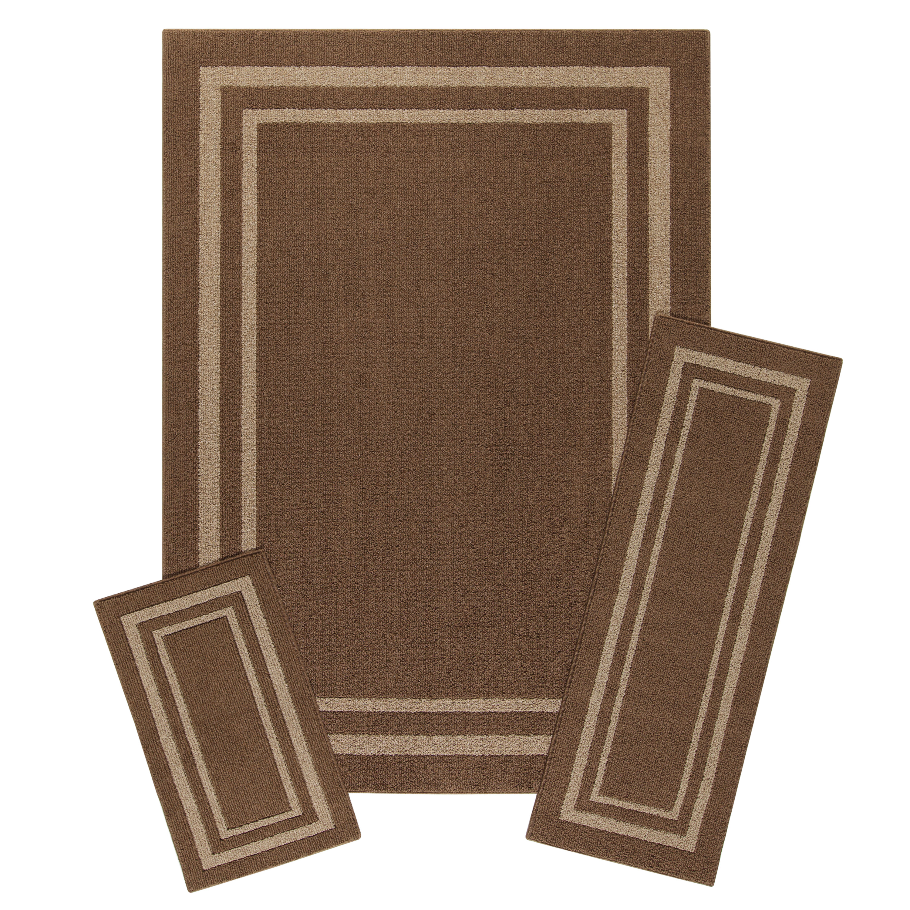 Mainstays Frame Border Tufted 3-Piece Area Rug Set, Multiple Colors