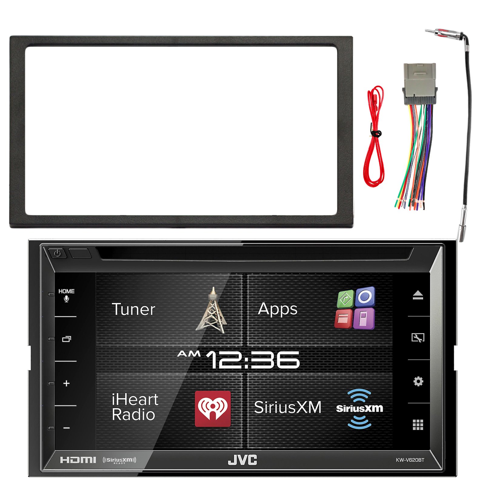 """Jvc Kw V620bt 6 8\"""" Display Double Din Bluetooth In Dash Car Stereo  Aftermarket Car Radio Adapters Car Stereo Wiring Harness Adapters Walmart"""