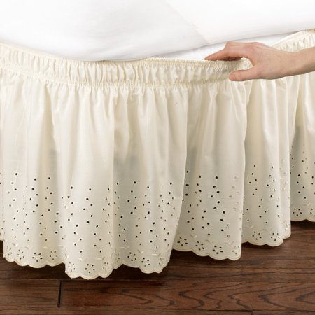 Bed Skirt Pins Walmart.Eyelet Floral Scalloped Elastic Dust Ruffle Bed Skirt Wrap Around Easy Fit Design Queen King Ivory
