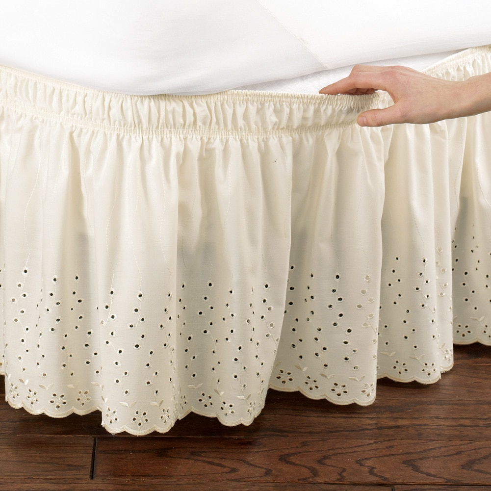 eyelet floral scalloped elastic bed wrap around easy fit dust ruffle bedskirt queen