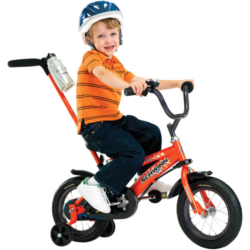 "12"" Schwinn Orange Grit Boys' Bike with Removable Push Handle"
