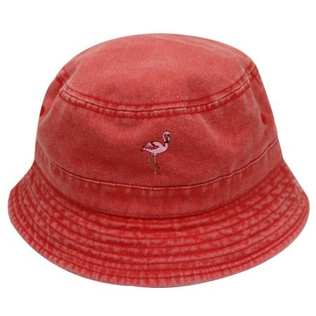 cb61f55a61a City Hunter Bd2020 Flamingo Washed Cotton Bucket Hats - 13 Colors (Washed  Red) - Walmart.com