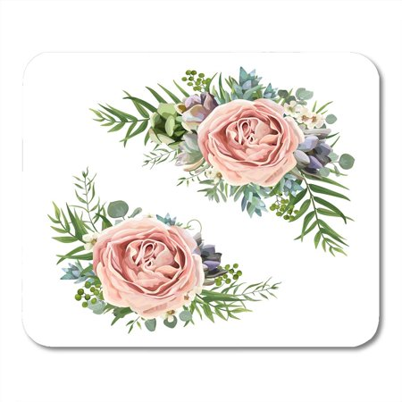 SIDONKU Floral Bouquet Garden Pink Peach Lavender Rose Wax Flower Eucalyptus Branch Green Fern Palm Leaves Mousepad Mouse Pad Mouse Mat 9x10 inch