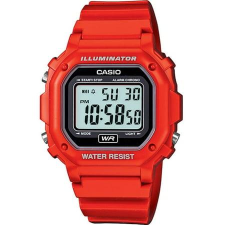 Casio Men's Digital Illuminator Sport Watch, Red Resin F108WHC-4ACF