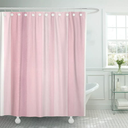 PKNMT Watercolor Hand Stripes in Rose Pink Pattern Shower Curtain 60x72 inches