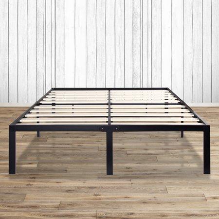 granrest 14 inch tall platform metal platform bed frame with wood slat grw7500 mattress foundation