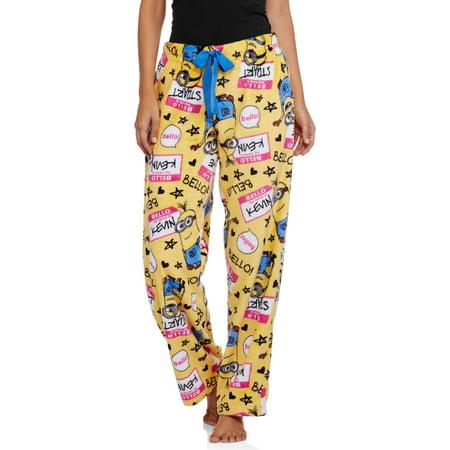 Minions Women's License Pajama Super Minky Plush Fleece Sleep Pant (Womens Minion Pajamas)
