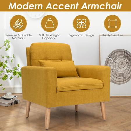 Costway  Accent Chair Upholstered Linen Armchair Sofa Chair w/Waist Pillow Yellow