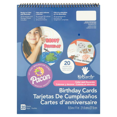 Pacon KidsCards, Assorted Birthday Designs, 8.5