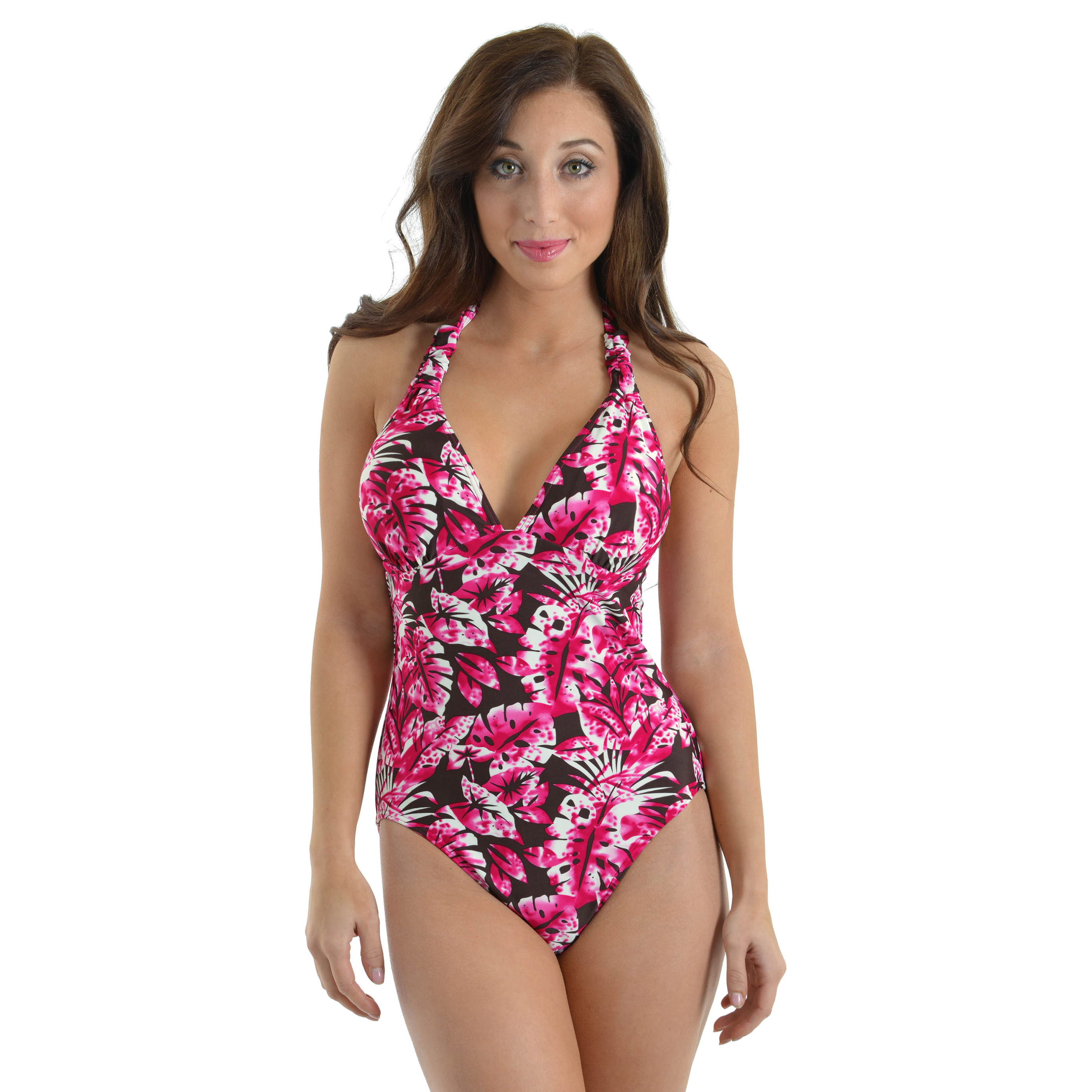 Caribbean Sand Womens Hawaii 1 Piece Swimsuit Halter Pink Tropical Bathing Suit