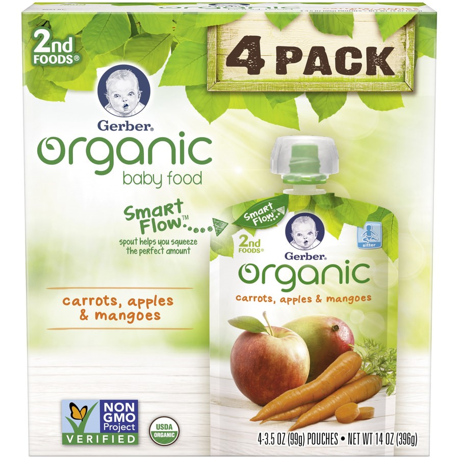 <mark>Gerber</mark> Organic 2nd <mark><mark>Food</mark>s</mark> <mark>Baby</mark> <mark>Food</mark>, Carrots, Apples & Mangoes, 3.5 oz Pouch (Pack of 4)