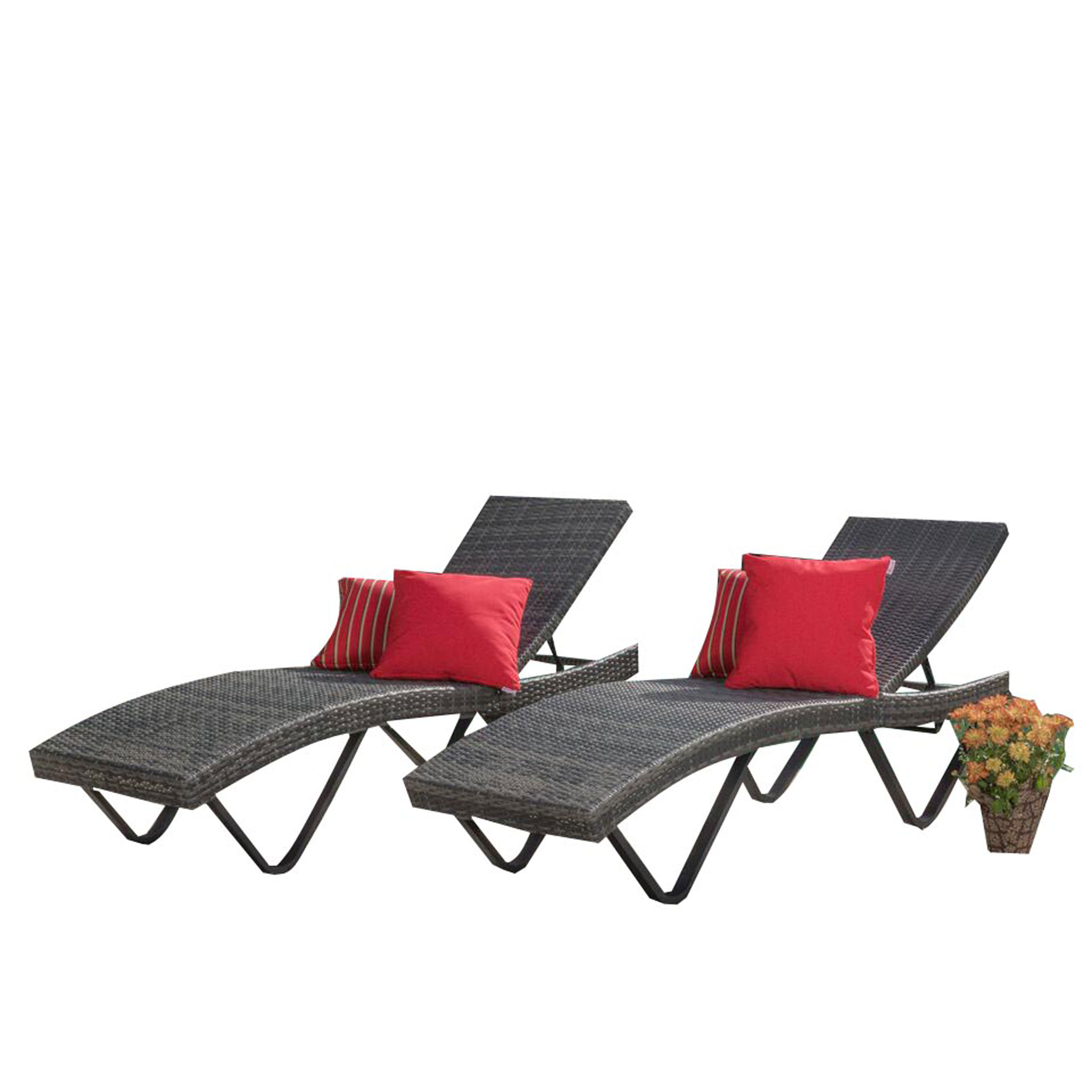 San Marin Outdoor Wicker Chaise Lounge, Set of 2, Grey