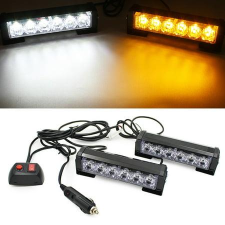 ediors 2x 6 led strobe lights for trucks cars 12v universal waterproof emergency caution light. Black Bedroom Furniture Sets. Home Design Ideas