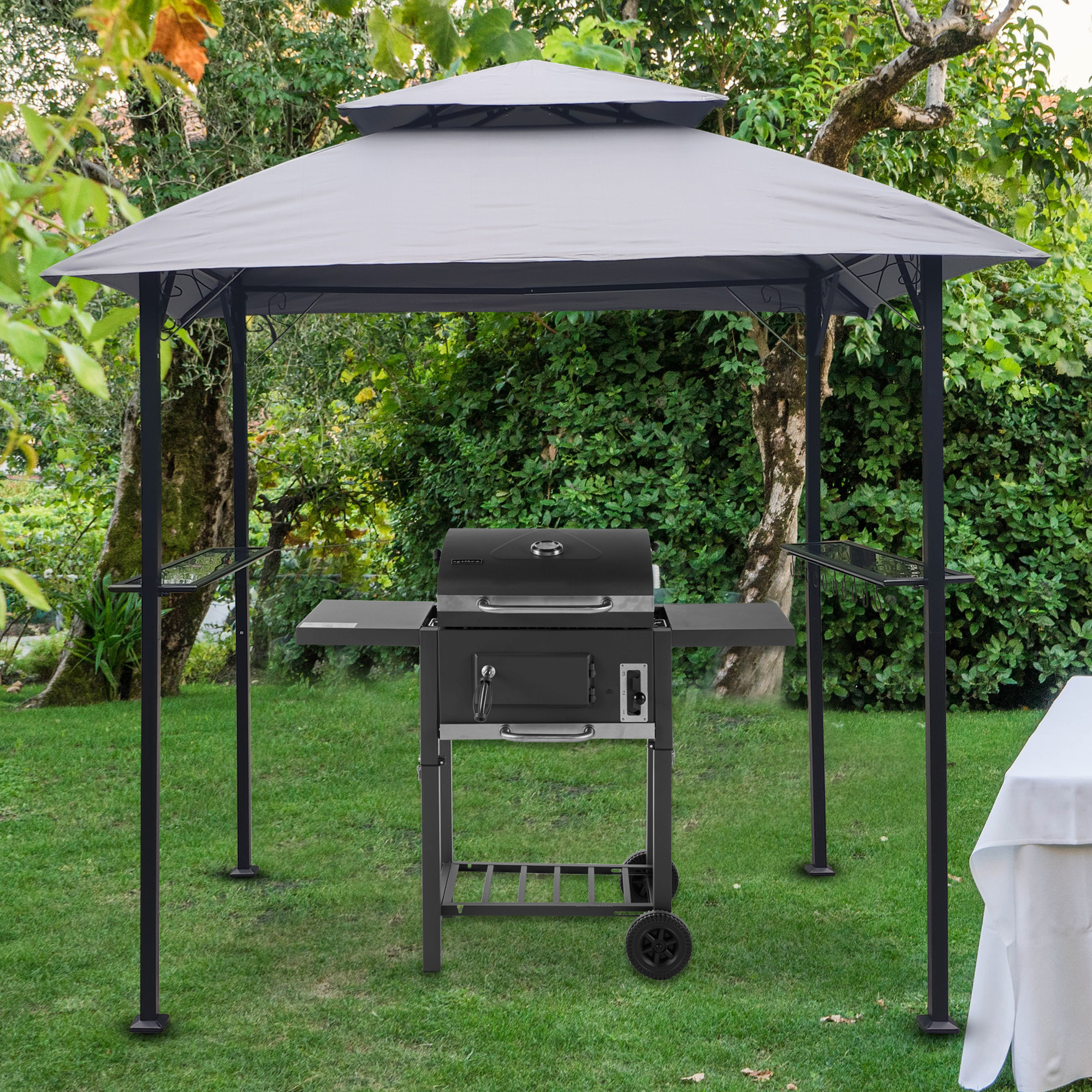 Outdoor Canopy Gazebo 8 X 5 Ft Grill Gazebo Hardtop For Backyard Patio Gazebo Clearance 2 Tier Barbecue Canopy Shelter Bbq Grill Tent With Bottle Opener Iron Mesh Shelves And Hooks B1847