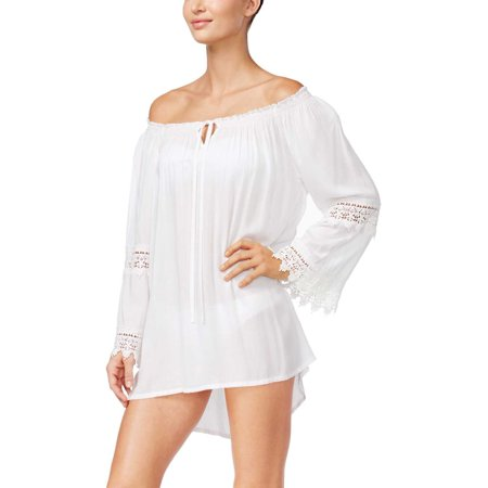 Raviya Womens Lace-Trim Peasant Dress Swimsuit Cover-Up White Medium M