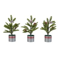 """Holiday Time Snow Pine Tree with Red Striped Bucket Decorations, 10"""", Set of 3"""