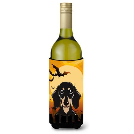 Halloween Smooth Black and Tan Dachshund Wine Bottle Beverage Insulator Hugger BB1773LITERK